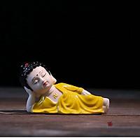 Tượng Phật Nằm Niết Bàn Gốm Màu