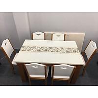 Bộ bàn ăn mặt đá nhập khẩu gỗ tự nhiên 1M6 6 ghế cho căn hộ chung cư cao cấp