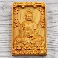 Mặt phật gỗ hoàng đàn - khắc hình Quan âm bồ tát MG1