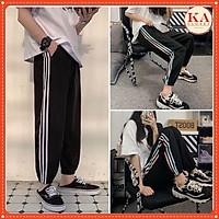 Quần thể thao 3 sọc chun ống KA Closet, quần jogger 3 line có 2màu: sọc màu, sọc trắng