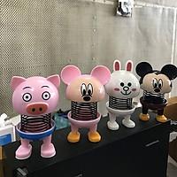 Combo 4 con thú nhún lò xo Emoji hoạt hình 4 hình con vật Lợn hồng, Thỏ Trắng, Mikey, Chuột nhắt  siêu đáng yêu