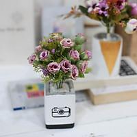 Hoa giả chậu hoa hồng cổ điển trang trí bàn văn phòng HOA070