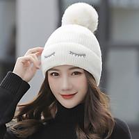 Mũ Len Nữ Trắng Trùm Tai Lót Lông Phong Cách Hàn Quốc Dễ Thương