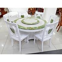 Bàn ăn mặt đá  tròn - 6 ghế trắng xanh - nhập khẩu Malaysia