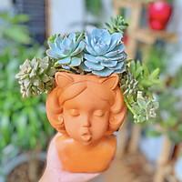 Chậu đất nung bé gái trang trí tiểu cảnh, trồng sen đá siêu xinh - 14*14*19cm