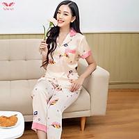 Vingo Pijama đồ bộ mặc nhà dáng dài lụa Pháp cao cấp họa tiết lông vũ H234 VNGO