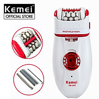 Máy cạo tẩy lông đa năng 2in1 Kemei KM-2668 dùng pin sạc tiện lợi dùng để cạo lông, nhổ lông, wax lông toàn thân, tay chân, tẩy lông vùng kín, nách ( Giao màu ngẫu nhiên )