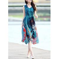 Đầm Maxi Dạo Biển Tươi Tắn - Xanh