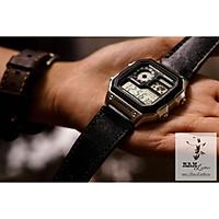 Dây đồng hồ da bò cho Casio AE1200 WHD và Seiko 5 37mm  - Da bò đen tuyền (Tặng Khóa + Cây thay dây + 2 chốt)