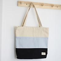 Túi tote vải canvas phom đứng phối sọc 3 màu thời trang COVI nhiều màu sắc T9_ xanh xám