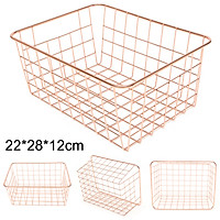 Modern Iron Copper Wire Mesh Metal Rectangular Baskets Homeware Kitchen
