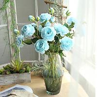 Hoa lụa cao cấp, bó 10 bông hoa mẫu đơn Peonia kèm nụ điểm xinh tươi trang trí phòng khách MD-201