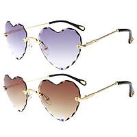 2PCS Love Heart Rimless Sunglasses Designer Tinted Lens Eyewear Anti UV