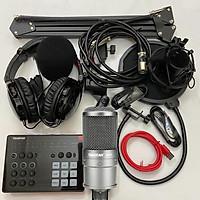 Combo trọn bộ sound card Takstar SC-M1 và Micro Takstar SM-8B thu âm live stream, karaoke cực hay, kẹp bàn màng lọc, tai nghe kiểm âm - Hàng chính hãng