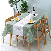 Khăn trải bàn PEVA cao cấp Xanh tuần lộc ( 137x 90cm) không thấm nước, chống thấm dầu siêu tiện ích - trang trí nội thất