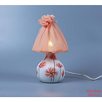Đèn nấm hoa cỏ vẽ tay Gốm Sứ Bát Tràng trang trí nội thất, đèn để bàn phòng ngủ hàng chính hãng.