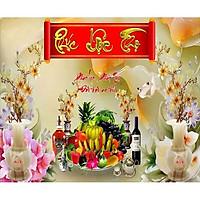 Tranh dán tường phòng thờ phúc lộc thọ - mâm ngũ quả - kích thước theo yêu cầu