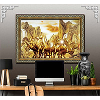 Bức tranh ngựa treo tường bát mã - MÃ ĐÁO THÀNH CÔNG chất liệu in vải lụa hoặc giấy ảnh bóng gương Mã số:L8F-00401319L8