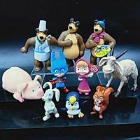 Mô Hình - Bộ 10 Nhân Vật Hoạt Hình Cô Bé Masha Và Chú Gấu Xiếc