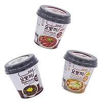 Combo 3 vị: Phomai, Siêu cay, tương đen - Bánh gạo Hàn Quốc Yopokki dạng cốc