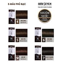 Nhuộm Nước Thiên Nhiên Ami Seven  - REFILL #5 Medium Brown. CHỈ PHA 100% VỚI NƯỚC- dạng gói lẻ 10g -  Không phụ kiện.