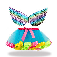 Princess Girls Dance Ballet Tulle Tutu Skirt with Rainbow Colorful Angel Wings
