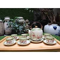 Bộ ấm trà men bóng vẽ đào