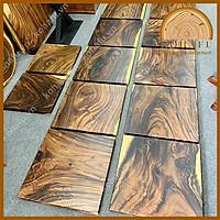 Mặt bàn cà phê/trà gỗ me tây nguyên tấm vuông vức cạnh 65 cm