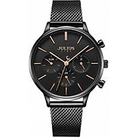Đồng hồ nữ JS-005D Julius Star Hàn Quốc dây thép (Đen)