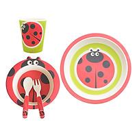 Bộ Dụng Cụ Ăn Uống Bằng Sợi Tre Cho Bé Bamboo Kids Preety Ladybug Binggio