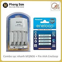 Bộ sạc pin AA AAA nhanh MQN06 Sanyo Kèm 4 viên Pin sạc AAA - Hàng Chính Hãng