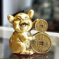 Tượng Heo Bằng Đồng Tài Lộc Ôm Tiền Vàng D298