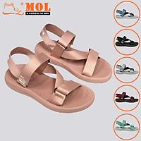 Giày sandal unisex nam nữ quai chéo vải dù đế mõng Slim có quai hậu cố định hiệu MOL mang đi học du lịch MS1166P
