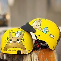 Mũ Bảo Hiểm Đẹp nửa đầu tem totoro siêu dễ thương, nón 1/2 thoáng khí dây khóa đỏ chắc chắn có thể điều chỉnh được