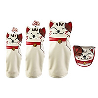 4pcs / Set Waterproof PU Leather Golf Headcover Hybrid Golf Wood Cover Head Protection Golf Putter