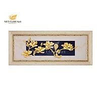 Tranh Hoa mộc lan dát vàng (18x40cm) MT Gold Art- Hàng chính hãng, trang trí nhà cửa, phòng làm việc, quà tặng sếp, đối tác, khách hàng, tân gia, khai trương