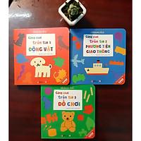 Ehon Nhật Bản Combo 3 cuốn: Cùng chơi trốn tìm 1 động vật, Cùng chơi trốn tìm 2 Phương tiện giao thông, Cùng chơi trốn tìm 3 Đồ chơi Dành cho bé 0-6 tuổi