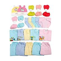 Combo 27 món màu cho trẻ sơ sinh (0-6th)(5 áo tay ngắn + 5 quần + 10 bao tay chân + 2 nón + 5 tã)