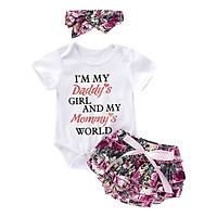 Summer Newborn Infant Cute Sweet Sets Baby Girl Cute Letters Print Short Sleeve Rompers and Floral Short Pants + Floral Headband