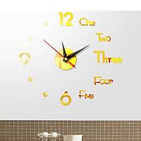 Đồng hồ dán tường 3D phong cách châu âu tráng gương giành cho tường trơn - size 40x40cm - màu vàng