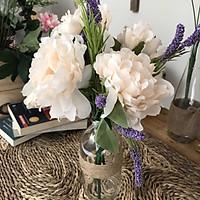 Bình Hoa Giả - Hoa Mẫu Đơn và Lavender Cổ điển - Hoa giả Loại 1 - Hoa Giả Để Bàn
