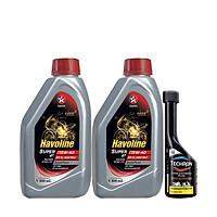 Combo 2 chai dầu nhớt xe côn tay Caltex Havoline Super 4T SAE 15W40 800ml tặng kèm dung môi pha xăng