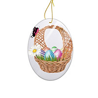 Miếng Sứ Trang Trí In Hình Chiếc Giỏ Những Quả Trứng Nhiều Màu Sắc - Mẫu012