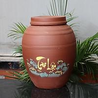 Chum sành không tráng men Tài Lộc 50 lit gốm sứ Bát Tràng (bình rượu, bình ngâm rượu, chum ngâm rượu)