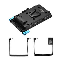 Andoer V Mount V-lock Battery Plate Adapter with 15mm Dual Hole Rod Clamp Power Adapter Replacement for BMPCC 4K/6K
