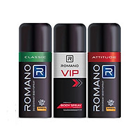 Bộ 3 Chai Xịt Khử Mùi Romano: Classic 150ml+ Attitude 150ml +Vip 150ml+1 dây dầu gội Classic 14 gói