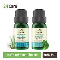 Combo 2 Tinh dầu Sả Java + Bạc Hà 24Care 10ml/Chai