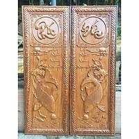 Cặp tranh LÝ NGƯ VỌNG NGUYỆT - CÁ CHÉP TRÔNG TRĂNG - kèm chữ PHÚC_ĐỨC gỗ GÕ ĐỎ