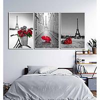 Bộ 3 tranh canvas decor Paris - đỏ - DC004