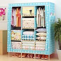 Tủ vải đựng quần áo khung gỗ 3 buồng 8 ngăn cao cấp NT318